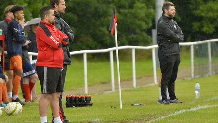 Rival bosses Jimmy Brattan of Huntingdon Town (left) and Ricky Marheineke of St Ives Town (right) lo