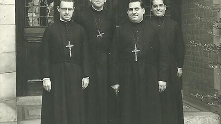 The four Founding Brothers on the steps of Iona House at St Columba's College in 1955. L-R: Brother