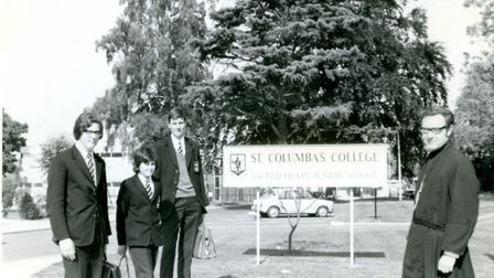 Brother Clement and students at the opening of the new Junior School in 1970.