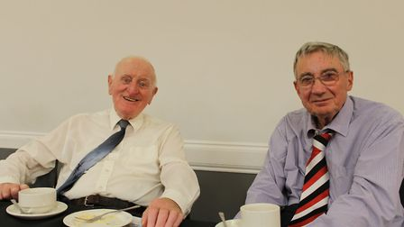 Jim Coughlan (left) with Michael Fox who was one of Brother Clement's first students from his first