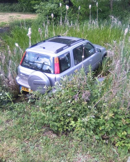 The car in the pond in Fenstanton