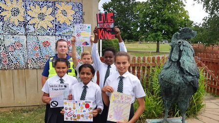 London Colney schoolchildren with their #LivesNotKnives posters. Picture: Herts police