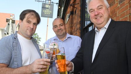 Green Man licencee Andy Murray with Star Pubs & Bars area manager Matt Cornwell and North East Herts