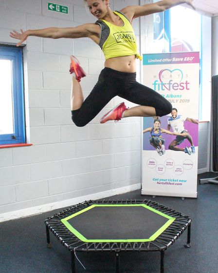 A fitness instructor leading a flash mob for Herts Fit Fest. Picture: Submitted by Emma Sills