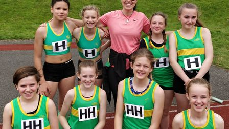 The successful Hunts AC Under 13 Girls squad with team manager Margit Bialobrzeska. Pictured are, ba