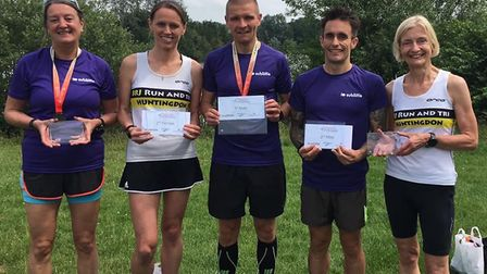 Successful BRJ runners at the Peterborough 10k are, from the left, Jackie Wren, Shelley Duffy, David