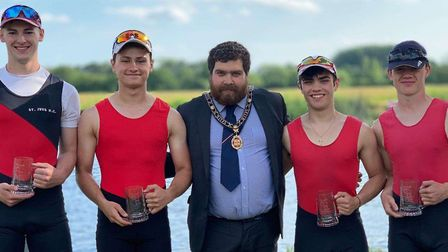 Successful rowers, from the left, Connor Strong, Matt Allen, Rory Crouch and Sam Hasted are pictured