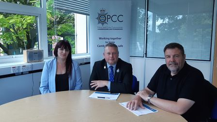 IMHT Service Manager, Sharon Johnson; Police and Crime Commissioner, Jason Ablewhite and IMHT Lead (
