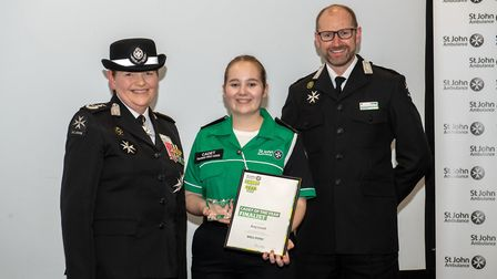 Photograph shows (L-R): Ann Cable (St John Ambulance Chief Volunteer); Amy Lovell (Cambridgeshire Di