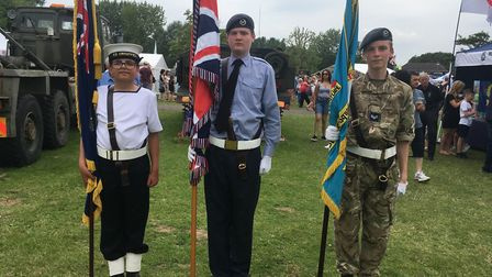 Luca, from the Huntingdon Sea Cadets and Liam Sharpe and Owain Evans from the St Neots 2500 Air Cade