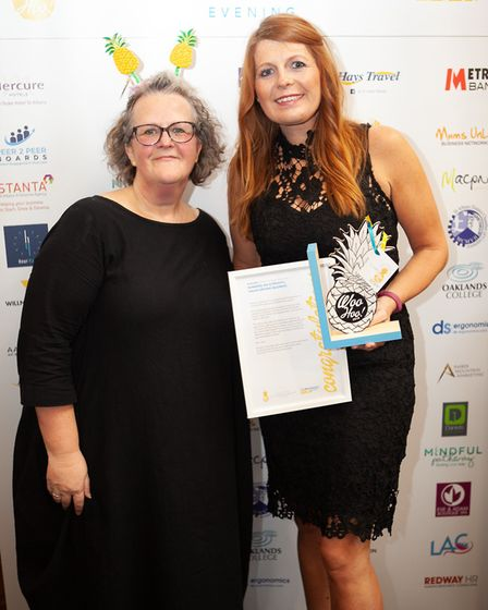June Cory of My Mustard and Emma Ellis of Amber Mountain Marketing at the Woo Hoo awards in St Alban