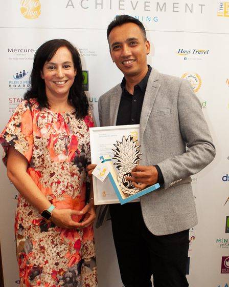 Claire Pope of Oaklands College and Adarsh Mehta of Let's Talk Travel at the Woo Hoo awards in St Al