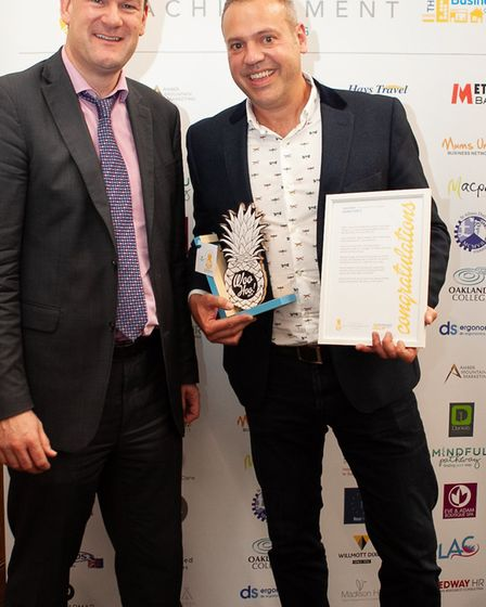 Andy Geldard of Willmott Dixon and Jeremy Banks of Jeremy Banks Photography at the Woo Hoo awards in