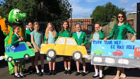 County cllr Annie Brewster visited Camp School in St Albans as part of an initiative to stop traffic