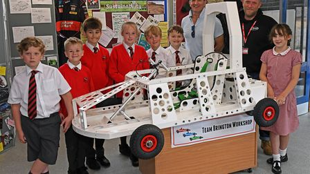 Pupils at Brington Primary School made a racing car. Picture: ARCHANT