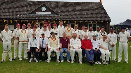 The Waresley and MCC teams are pictured ahead of the 150th anniversary celebration game last Sunday.