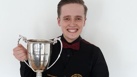 Luke Gilbert shows off his World Under 23 Championship crown. Picture: SUBMITTED