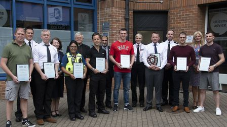 St Albans officers getting their awards.