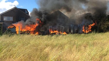 Firefighters tackled a large shed fire in Bassingbourn. Picture: Cambridgeshire Fire & Rescue Servic