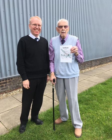 David Smith, from Fenstanton, took to the skies for his 103rd birthday. Picture: CONTRIBUTED