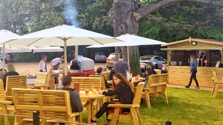 The outdoor bar and seating area at St Michael's Manor in St Albans. Picture: Becky Alexander