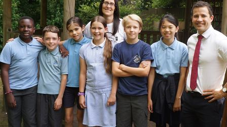 Lea Primary headteacher James Berry, Y6 teacher Claire Weston and some of the Year 6 children.