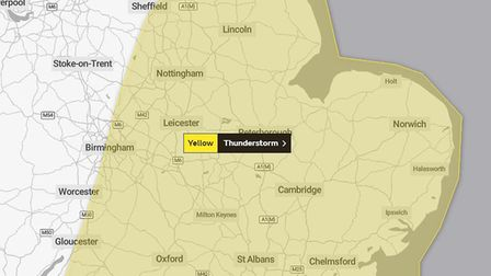 Yellow weather warning across East of England for thunderstorms
