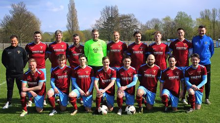 The title-winning Eaton Socon Reserves squad are back row, left to right, Alan Barnett (assistant ma