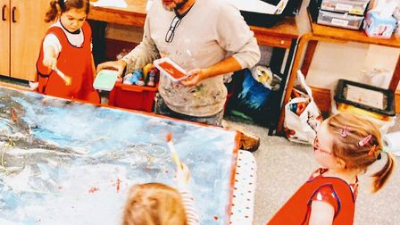 St Albans dad, Stuart Beck, went to Trinity Community Pre-School to lead an abstract art workshop.