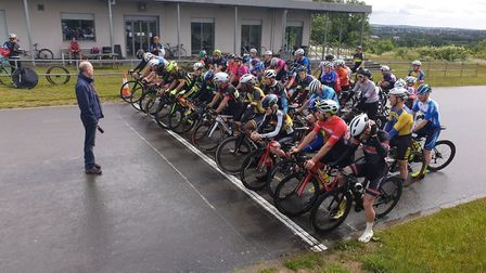Riders line up at the start of Verulam Reallymoving's Le Col/Arcadia race at Hog Hill.