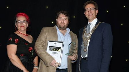 St Albans Chamber of Commerce Community Champion Winner 2018, Phil Thompson with Denise Parsons and