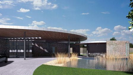 Artist's impression of the Dignity crematorium at Sawtry Way.