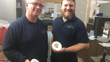Dave Finch, left, and Liam Fernard – of DGF Engineering Ltd – with the case for the Cryoegg probe at