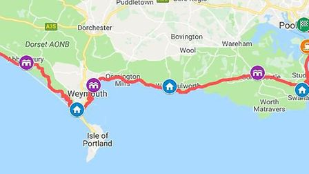 The route of the Jurassic Coast Challenge, which was completed by Jenny Clark from St Albans. Pictur