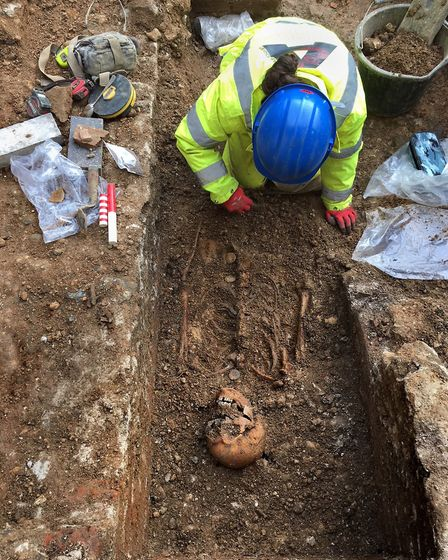 The skeleton of Abbot John of Wheathampstead was discovered while excavating for St Albans Cathedral