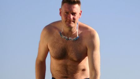 Mark Smith will swim 50km in seven weeks. Picture: Angela Bonner