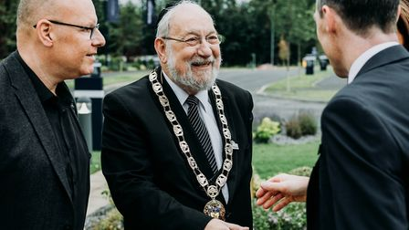 Mayor of Hertsmere Cllr Alan Plancey pictured greeting guests at the launch of the Harperbury Park