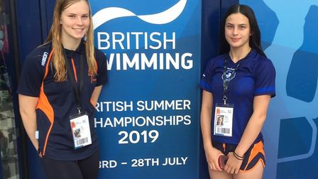 Ciara Taylor and Bethan Endicott at the British Summer Championships in Glasgow. Picture: SUBMITTED