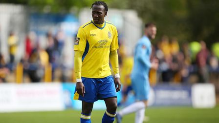 David Moyo playing for St Albans City against Torquay United. Picture: DANNY LOO