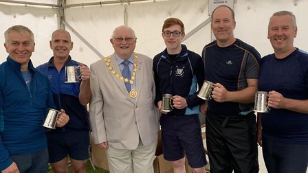 St Neots mayor, councillor Gordon Thorpe, presents trophies to, from the left, Steve Fox, Clive Emme