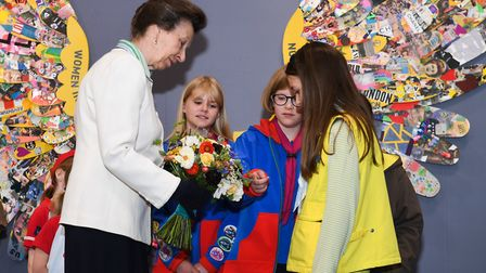 Princess Anne met local Girl Guides, Brownies and Rainbows at Luton Airport. Picture: London Luton A