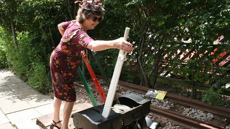 St Albans mayor Janet Smith explores the St Albans Signal Box Trust garden. Picture: Nina Morgan