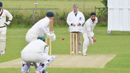 Sonny Narula hit the winning runs for Sandridge against Old Haberdashers. Picture: KEVIN LINES