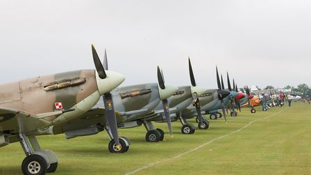 The Spitfire line up at the Flying Legends Air Show 2019 at IWM Duxford. Picture: Gerry Weatherhead