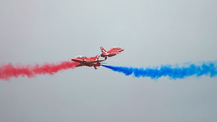 The Red Arrows crossover at Flying Legends Air Show 2019 at IWM Duxford. Picture: Gerry Weatherhead
