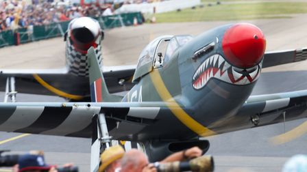 P-51 Mustangs taxiing out for a display at the Flying Legends Air Show 2019 at IWM Duxford. Picture: