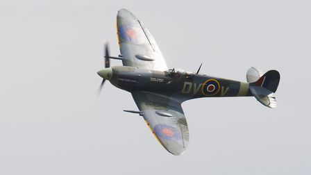 A Supermarine Spitfire in flight at the Flying Legends Air Show 2019 at IWM Duxford. Picture: Gerry