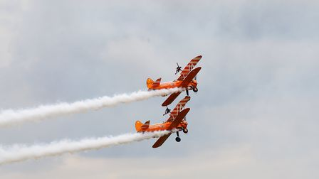 Wingwalkers at the Flying Legends Air Show 2019 at IWM Duxford. Picture: Gerry Weatherhead