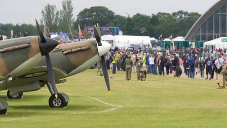 The public walking the flight line at the Flying Legends Air Show 2019 at IWM Duxford. Picture: Gerr
