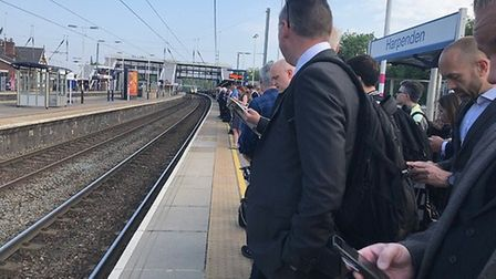 Harpenden station during rush hour.